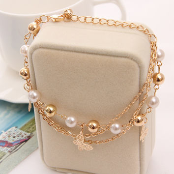Bohemian Gold Plated Chain Multilayer Beads Stretch Charm Bracelet & Bangle For Women pulseras mujer bracelet