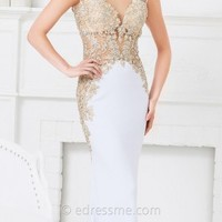 Beaded Illusion Applique Evening Dresses by Tony Bowls Evenings