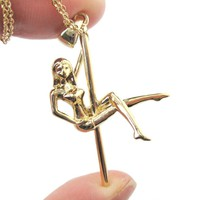 Pole Dancer Cross Leg Climb Aerial Dance Themed Necklace in Gold | DOTOLY