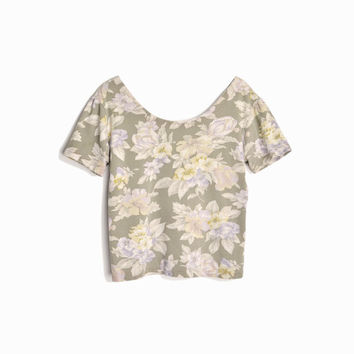 Vintage 90s Floral Crop Top / Wide Neck Tee - women's medium/large