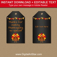 Thanksgiving Tags - Thanksgiving Favor Tags - Thanksgiving Hang Tags - Printable Thanksgiving Thank You Tags - Thanksgiving Baby Shower Tags