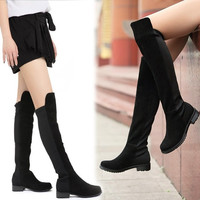Sexy Women Faux Suede Over Knee Stretch Thigh High Slouchy Flat Heel Boots Shoe 7_S = 1913384836