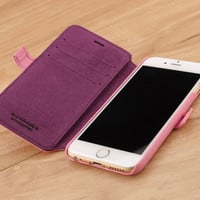 Napa Pink Genuine Leather Wallet Case for Apple iPhone 6 Plus / 6s Plus