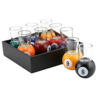 Amazon.com: Pool Shots Billiard Ball Shot Glasses - Set of 9 with Serving Tray: Kitchen & Dining