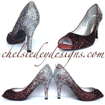 Burgundy Glitter Peep Toe Pumps - Red Silver Ombre Open Toe Wedding High Heels