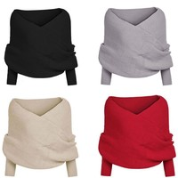 Knit Tops Stylish Irregular Scarf Sweater [11275922375]