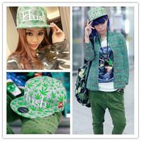 "New Fashion Cool Men&Women's Hip-hop Hat Skateboard Baseball Cap Personality Green Leaf Embroidery Letters ""Hush"" Flat Brimmed Hat Adjustable Unisex Hot Sell"