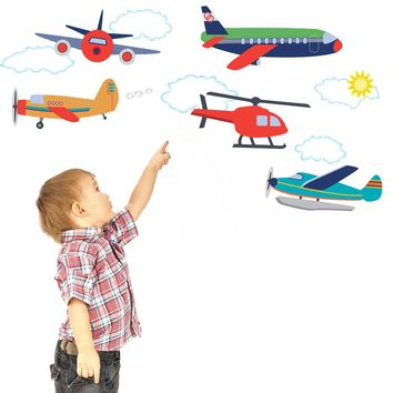 Airplanes and Helicopter Wall Decals, Eco-Friendly Removable Wall Stickers