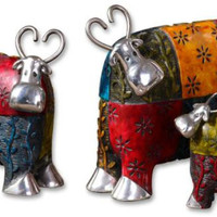 3 Cow Figures - Multicolored