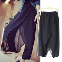 Black Elastic Waist Loose Fitting Harem Pants with Chiffon Wrap Details
