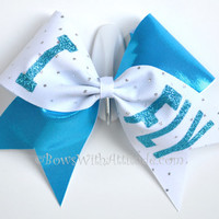 "3"" Wide Luxury Cheer Bow - I Fly on Aqua / White Sparkle"