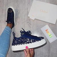 [Chloe] New Lace thick soled white shoes