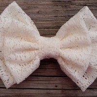 Big Double Lace Bow - Cream  by Little Lady Boutique