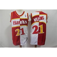 Atlanta Hawks 21 Dominique Wilkins Two-color double fight Jersey