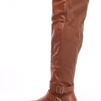 Tan Thigh High Riding Boots Nylon Faux Leather
