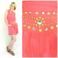 80s 90s vintage Cache romper / Rhinestone beaded pink jumpsuit / 80s rocker / sleeveless / Wrap outfit size small/medium