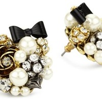 My Associates Store - Betsey Johnson Simulated-Pearl and Black Bow Button Stud Earrings