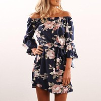 Fashion Flower Print Off Shoulder Hem Irregular Middle Sleeve Mini Dress