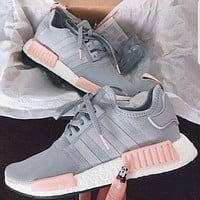 """Adidas"" NMD Fashion Women Men Casual Sports Shoes Sneakers Grey Pink I"