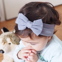 Tremendous Gray Baby Turban Bow Headband