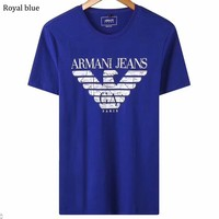 Armani Jeans 2018 new men's slim round neck fashion short-sleeved T-shirt Royal blue