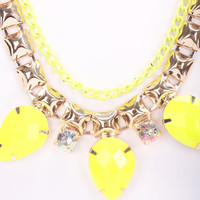 Neon Yellow High Polish Metal Cascading Faceted Beaded Necklace