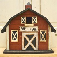 ''Welcome'' Red Barn Birdhouse