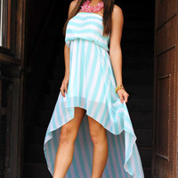 Long Winding Path Dress: Mint/White | Hope's