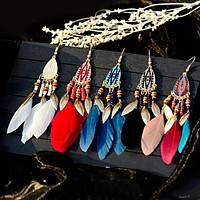 Bohemian Feather Tassel Earrings For Women 18 Assorted Colors and Styles Water Drop Vintage Boho Indian Jewelry FREE SHIPPING