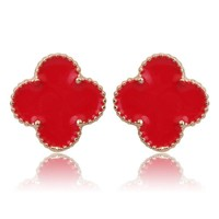 Beady Cleef Single Stud - Gold & Red