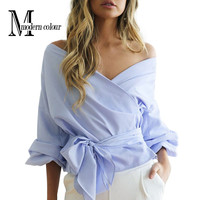 Off Shoulder Women Tops And Blouses Spring 2017 New Arrival Cotton Shirt With Puff Sleeve Bow V Neck Fashion Sexy Wrap Blouse