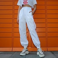 Women All-match Fashion Multicolor Stripe High Waist Leisure Pants Trousers Sweatpants Harem Pants