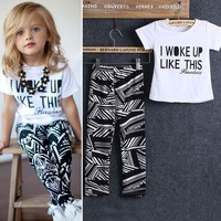 2pcs Kids Baby Girls Outfits Casual T-shirt Tops Long Pants Leggings Clothes Se