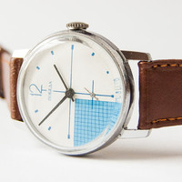RESERVED Soviet men's watch Pobeda - modern Russian wrist watch - turquoise, white checked  face