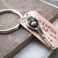 LACROSSE Weapon of Choice Stamped Keychain, alt charms available, see picture, great gift for the lacrosse lover
