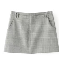 FREE SHIPPING Early autumn new high-waisted wool plaid double pocket skirt skirt