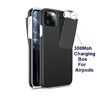 2IN1 Case For iPhone 11 Pro Max Coque Xs Max XR X 8 7 6 6S Plus Cover For Apple AirPods 2 1 With 300Mah Charging Box