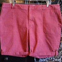 Coldwater Creek Women Plus Size 18  Natural Fit Bermuda Walking Shorts Brick Red