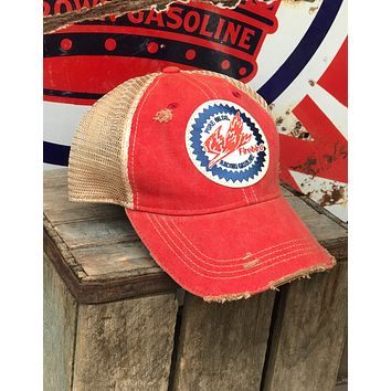 Firebird Racing Gas/Oil Hat- Distressed Red Retro Vintage