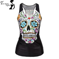 V9 women Floral sugar skull tank tops adventure time camisole HOT SALE t shirt