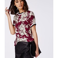 Missguided - Sports Rib Floral Shell Top Burgundy
