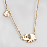 Mother Daughter Elephant Necklace
