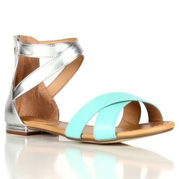 MintSilver Zip Up Colorblock Sandals