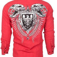 Licensed Official Archaic AFFLICTION Mens BUTTON DOWN Shirt RUSE Biker Roar UFC S-M  $78 NWT
