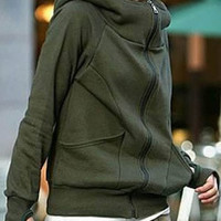 Hot Sale New cheap women Long sleeve hoodie cardigans coat women's hoodie sports wear Track sweatshirt Size S M L (Color:Black,Navy,Grey,Army Green)W4802 = 1706385604
