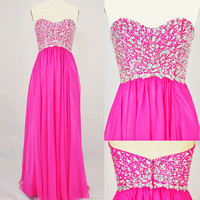 Strapless Sweetheart with Beading Chiffon Long Pink Prom Dress from sweetheart dresses