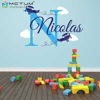 Personalized Airplane Name Clouds Decal Nursery Decor - Airplane Decal Childs Room Decor Vinyl Wall Decal Airplanes With Clouds