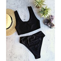 reverse - thea - high waisted sport bikini set - black