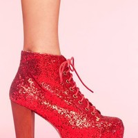 Lita Platform Boot - Red Glitter in  What's New at Nasty Gal