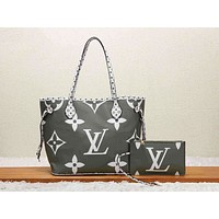Louis Vuitton LV Women Shopping Leather Tote Handbag Shoulder Bag Purse Wallet Set Two-Piece Green